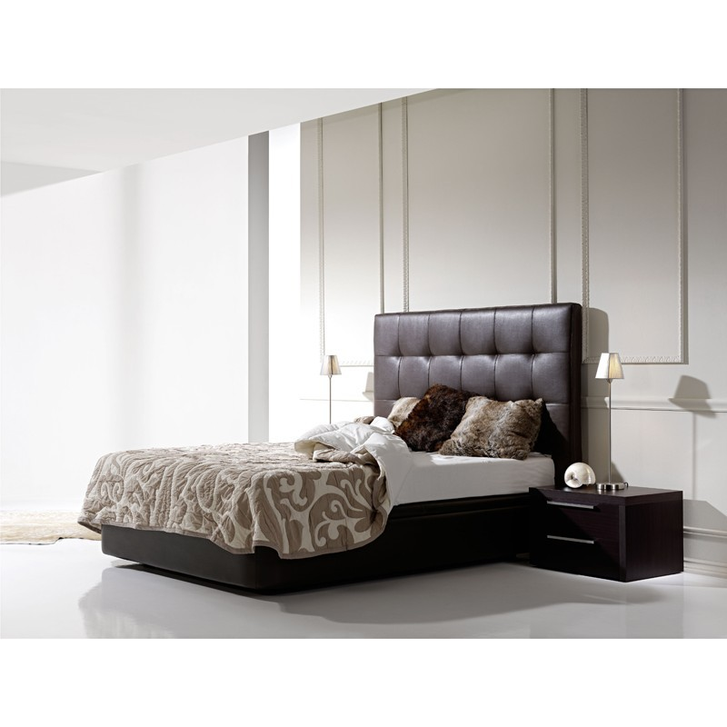 cabezal de cama capitone color chocolate